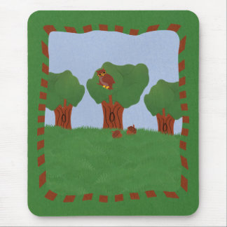 Owl in the Oak Tree Sunburst Design Mouse Pad