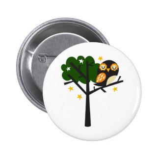 Owl In Tree 6 Cm Round Badge