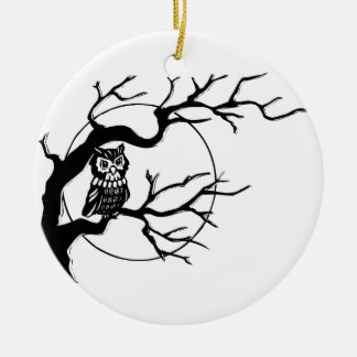 Owl in Tree Christmas Tree Ornaments