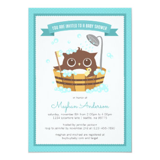 Owl in Wooden Bathtub Boy Baby Shower Invitation