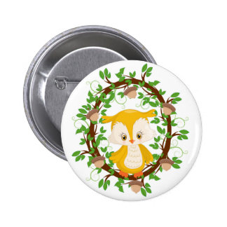 Owl  in wreath WOODLAND CRITTERS 6 Cm Round Badge