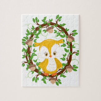 Owl  in wreath WOODLAND CRITTERS Jigsaw Puzzle