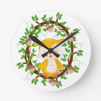 Owl  in wreath WOODLAND CRITTERS Round Clock