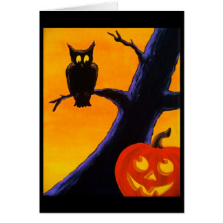 Owl & Jack O' Lantern Halloween Greeting Card