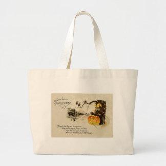 Owl Jack O' Lantern Pumpkin Tree Jumbo Tote Bag