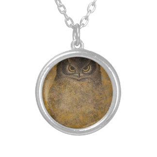 Owl Japanese Fine Art Silver Plated Necklace
