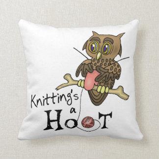 Owl Knitting Cushion