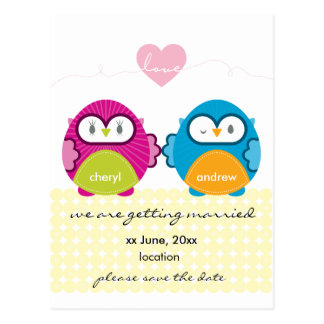 OWL LOVE :: bright girl + boy Postcard