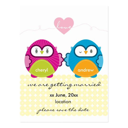 OWL LOVE :: bright girl + boy Postcard