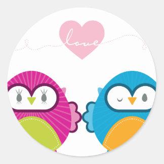 OWL LOVE :: bright girl + boy Round Sticker