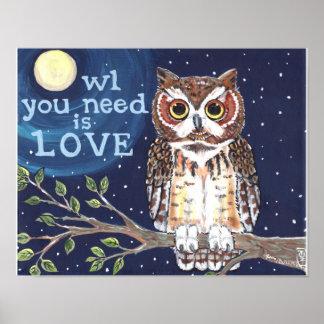 Owl Love Night Moon Poster Navy Branch Stars