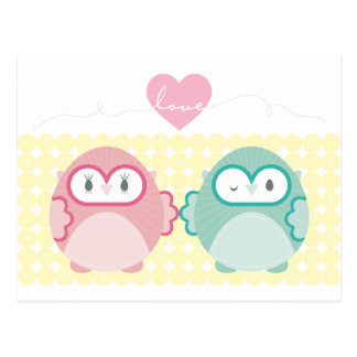 OWL LOVE :: soft girl + boy Postcard
