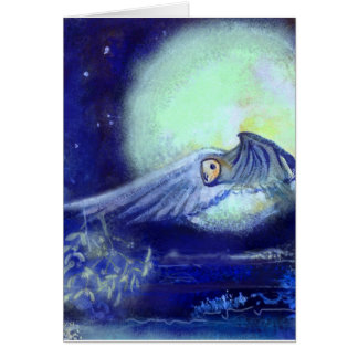 Owl Mistletoe Moon and Sea Card