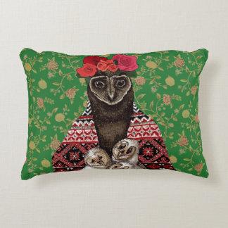 Owl mother triplets owl  babies decorative cushion