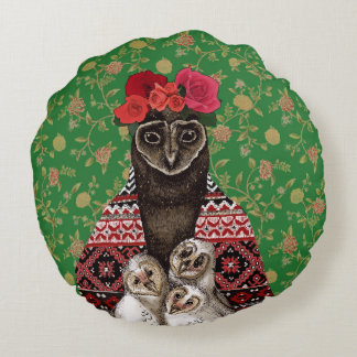 Owl mother triplets owl  babies round cushion