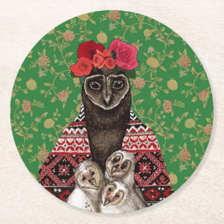 Owl mother triplets owl  babies round paper coaster