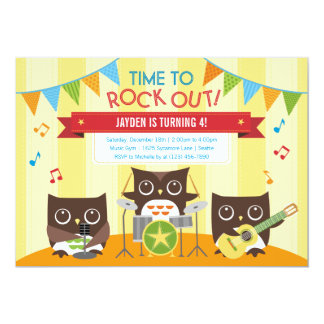 Owl Music Band Birthday Party Invitation