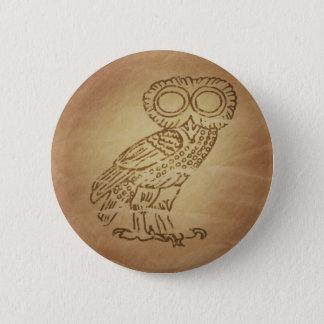Owl of Wisdom Greek 6 Cm Round Badge