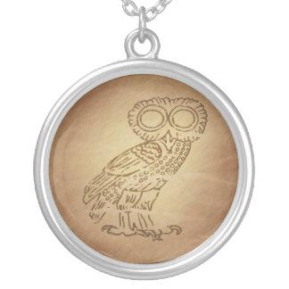 Owl of Wisdom Greek Silver Plated Necklace