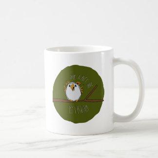 owl on a branch coffee mugs