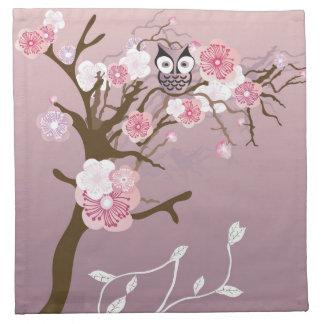 Owl on a cherry blossom tree American MoJo Napkin