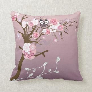 Owl on a cherry blossom tree American MoJo Pillow Throw Cushion
