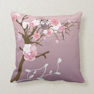 Owl on a cherry blossom tree American MoJo Pillow Throw Cushion