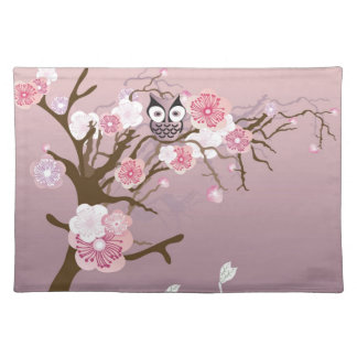 Owl on a cherry blossom tree American MoJo Placema Place Mat