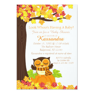 Owl On A Pumpkin Baby Shower Invitation