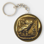 Owl on ancient greek coin basic round button key ring