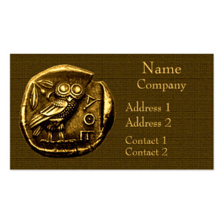 Owl on ancient greek coin pack of standard business cards
