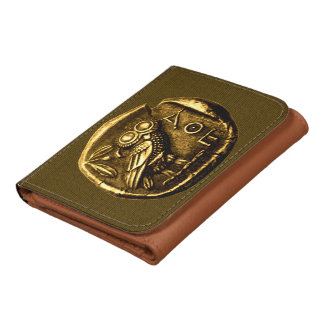 Owl on ancient greek coin leather wallets