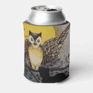Owl on Branch In front of Moon watching black cat Can Cooler