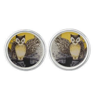 Owl on Branch In front of Moon watching black cat Cuff Links