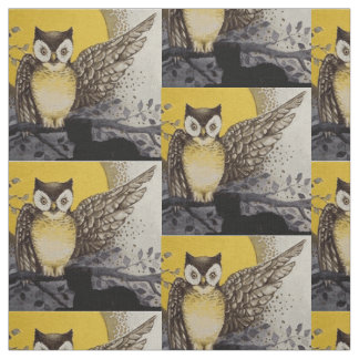 Owl on Branch In front of Moon watching black cat Fabric
