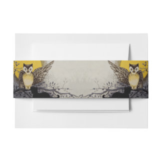 Owl on Branch In front of Moon watching black cat Invitation Belly Band