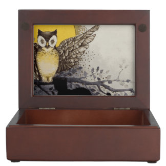 Owl on Branch In front of Moon watching black cat Keepsake Box