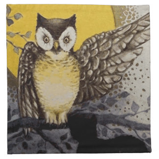 Owl on Branch In front of Moon watching black cat Napkin