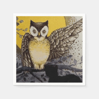 Owl on Branch In front of Moon watching black cat Paper Napkins