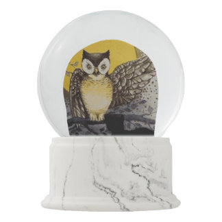 Owl on Branch In front of Moon watching black cat Snow Globe