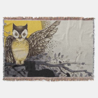 Owl on Branch In front of Moon watching black cat Throw Blanket