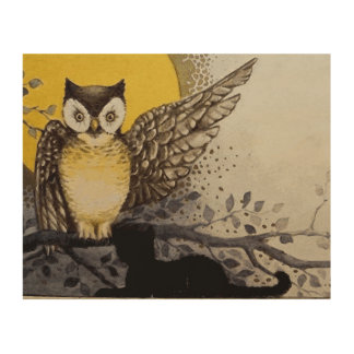 Owl on Branch In front of Moon watching black cat Wood Print
