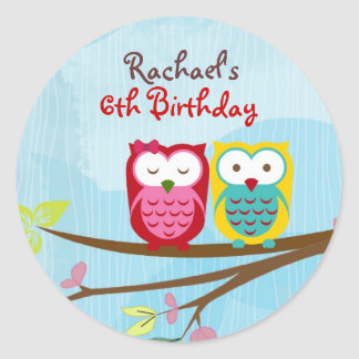 Owl on branch round sticker for gift or favor bag