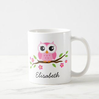 Owl on branch with pink flowers personalized name coffee mug