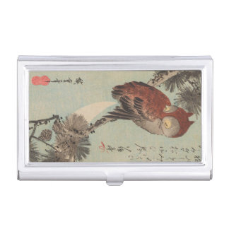 Owl on Pine by Ichiryusai Hiroshige Business Card Holder