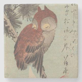 Owl on Pine by Ichiryusai Hiroshige Stone Coaster