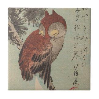 Owl on Pine by Ichiryusai Hiroshige Tile