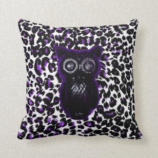 Owl On Purple Leopard Spots Throw Pillow