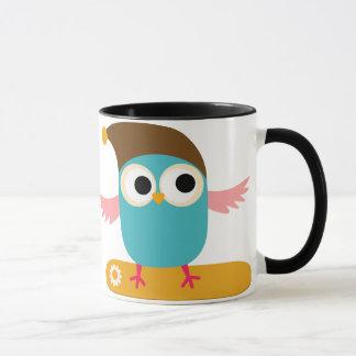 Owl on Snowboard, Sports Mug