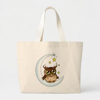 Owl on the Moon Canvas Bag